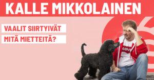 Bannerikuva Kalle istuu ja Nero koira katsoo vieressä